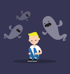 Scared blond boy surrounded by ghosts flat vector