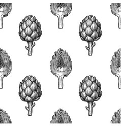 Seamless pattern with artichoke vector