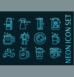 set coffee blue glowing neon icons vector image