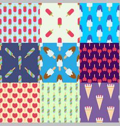 Set ice cream seamless pattern background cartoon vector