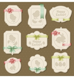 Set of Easter labels tags with bows and ribbons vector image vector image