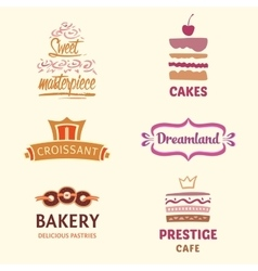 Set of patterns logos cakes Logo vector image