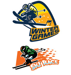 set of ski sport badge vector image