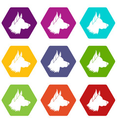 shepherd dog icon set color hexahedron vector image