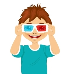 Smiling little boy trying on 3d glasses vector