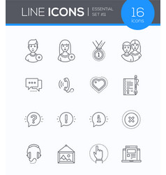 Social media - modern line design style icons set vector