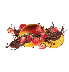splash liquid chocolate and fresh mango vector image