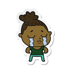 Sticker of a cartoon tough woman crying vector