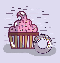 Tasty muffin with donut and sweet food vector