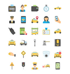 Taxi services flat colored icons vector