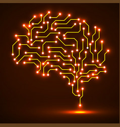 Technological neon brain circuit board vector