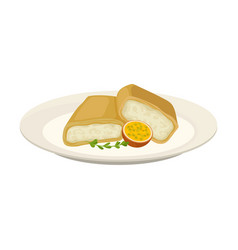 Two rolls pancake with white filling vector