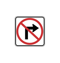 usa traffic road signs no right turn vector image