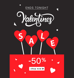 Valentines day sale banner template vector