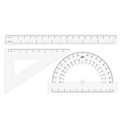 Various transparent rulers on white background vector