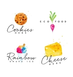 Watercolor label cheese vector