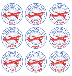 welcome stamps with plane black set vector image