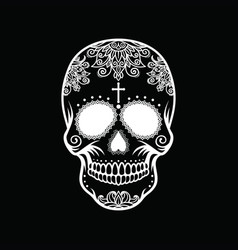 White skull on a black background vector