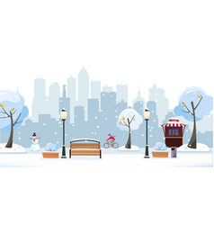 winter snowy park public park in city with vector image