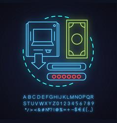 Withdraw money neon light concept icon vector