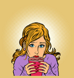 young woman paper cup hot coffee vector image