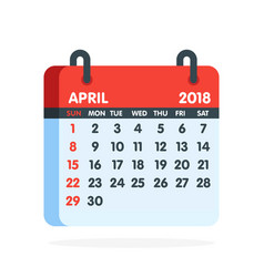 calendar for 2018 year full month of april icon vector image