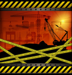 construction crane at sunset background vector image