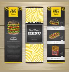 Set of vintage chalk drawing fast food menu banner vector image