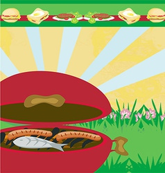 tasty meat on the grill - barbecue Party vector image vector image