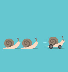 unique snail with wheels vector image vector image