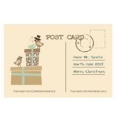 Vintage christmas greeting postcard with birds vector image