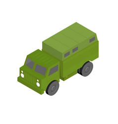 3d isometric military truck vector image