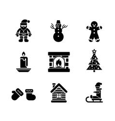 Black Christmas Icons on White Background vector image