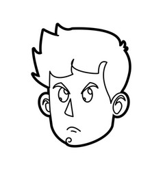 character face head boy angry outline vector image