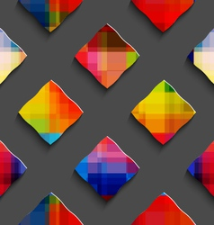 Rainbow colored rectangles on gray seamless vector image