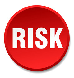 risk red round flat isolated push button vector image