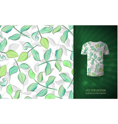 seamless pattern with green watercolor leaves vector image vector image