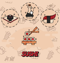 Sushi flat concept icons vector