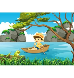 Boy rowing boat alone in the lake vector image vector image