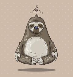 cartoon sloth meditates cartoon in vector image vector image