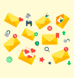 email envelope cover icons communication vector image