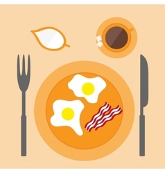 Fried egg icon in flat style vector image