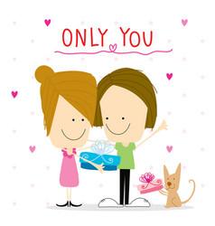 girl and boy cartoon cute happy birthday vector image vector image
