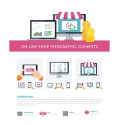 On-line shopping inforaphic elements set mobile vector image vector image