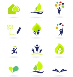 school and nature icons vector image vector image