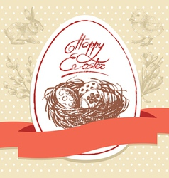 Vintage Easter background hand drawn vector image vector image