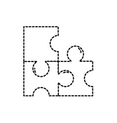 dotted shape puzzles pieces game to idea solution vector image vector image