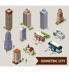 Isometric City Isolated Icons vector image vector image