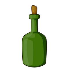 retro green wine bottle icon cartoon style vector image