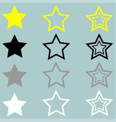 star yellow black grey white icon vector image vector image